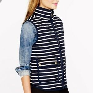 J. Crew navy and white striped puffer vest